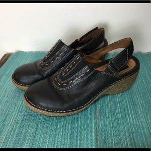 Clarks Black leather clogs with wedge heel
